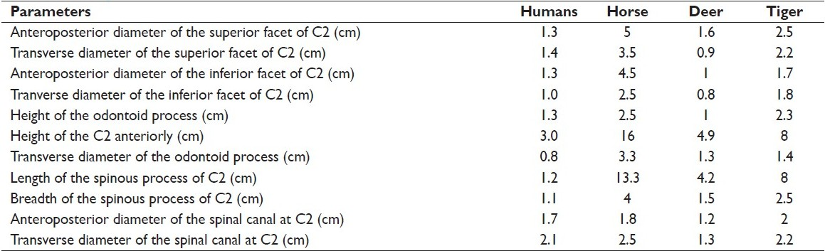 Table 2: Analysis of C2 vertebra